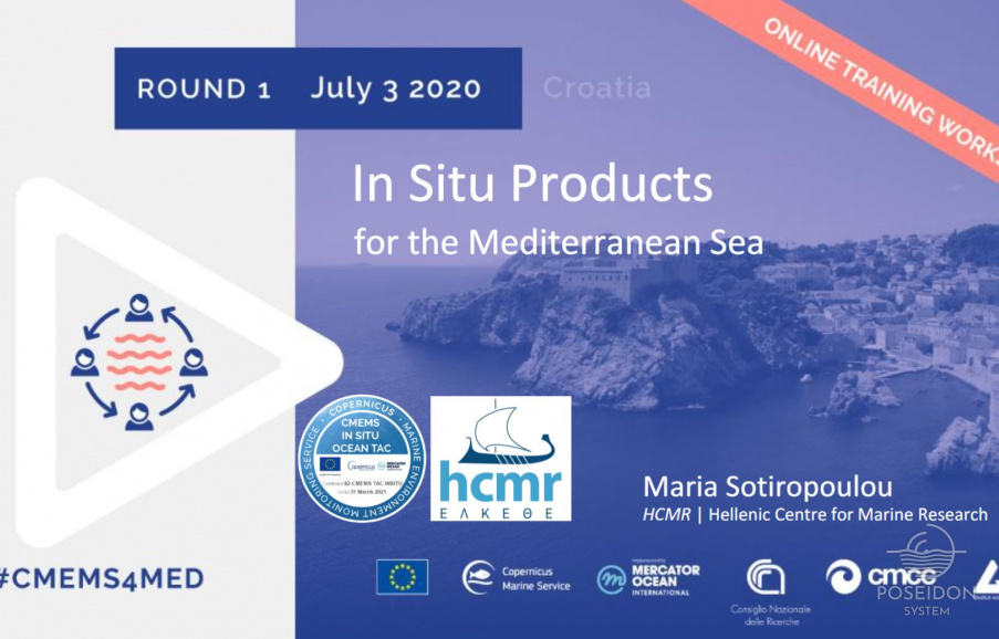 Credits for presentation of In Situ product in Mediterranean Sea