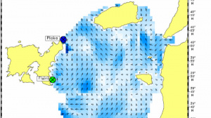 Surface current map recorded by the HF Radar at NE Aegean Sea