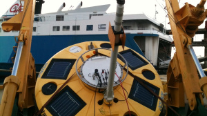 Wavescan buoy on R/V AEGAEO's deck (February 2013)