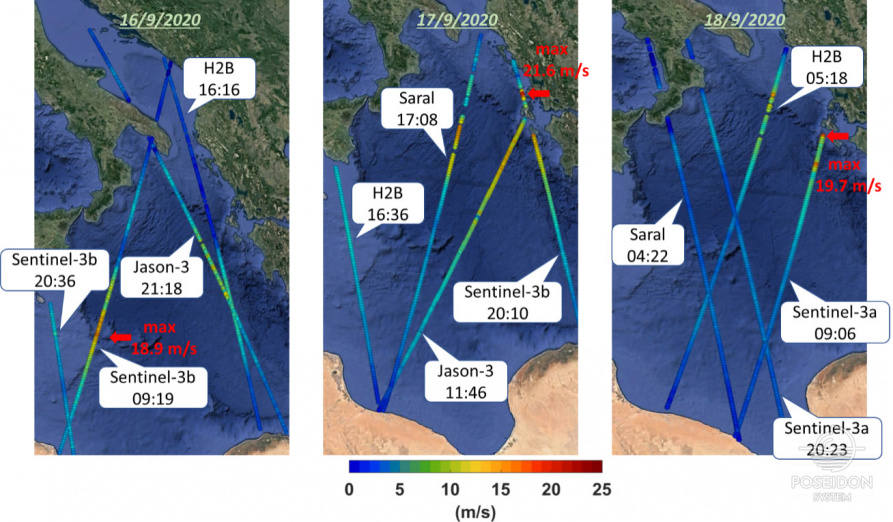 Wind speed measurements from the altimeters of the Sentinel-3b & 3a, Jason-3, Saral and H2B satellites along their tracks