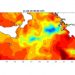 """IANOS"" Medicane: Sea surface temperature map (night shot) - 21 September 2020"